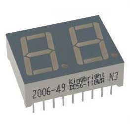 DA56-11EWA, LED zobrazovač 8.8. červený, 20mm, spol.anoda