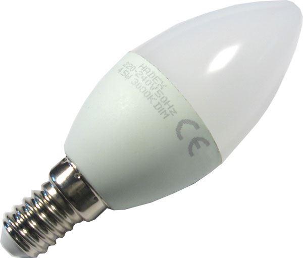 Žárovka LED E14 C35 svíčková,bílá, 230V/4,5W, stmívatelná