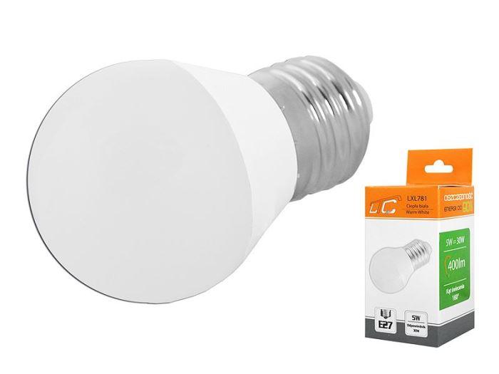 Žárovka LED E27 G45 SMD 230V/5W, bílá teplá, LTC