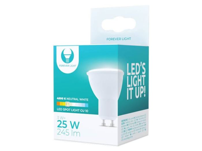 Žárovka LED GU10,  230V/3W, 4500K, 245lm, Forever Light
