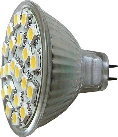 Žárovka LED MR16-21xSMD5050,bílá teplá,12V