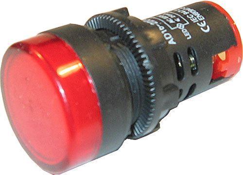 Kontrolka 230V LED 29mm AD16-22DS, červená