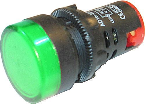 Kontrolka 230V LED 29mm AD16-22DS, zelená