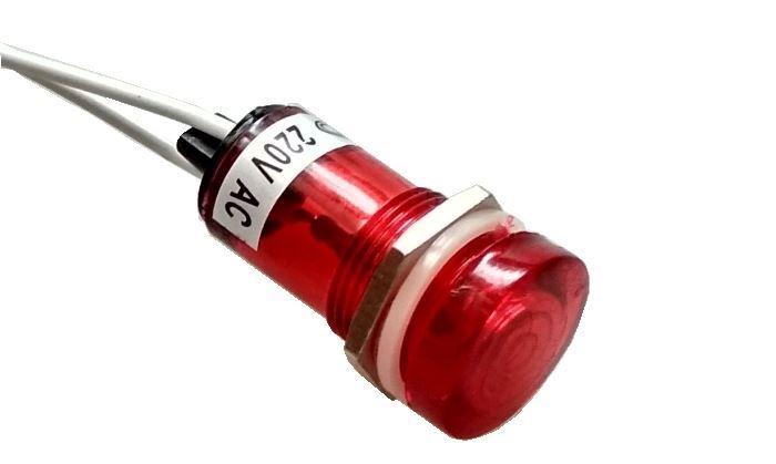 Kontrolka 230V s doutnavkou červená, průměr 18mm