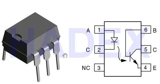 CNY-17/IV optočlen 5,3kV CTR 160-320% DIP6