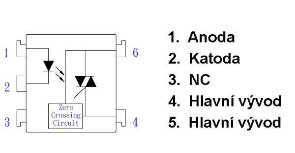 MOC3062 optotriak 1A/600V, izolační pevnost 7500V, spíná v nule, DIL6