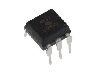 4N37 optočlen s tranzistorem,  5,3kV, CTR100% DIP6