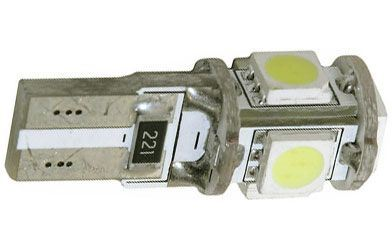 Žárovka LED T10 12V/1,5W ,bílá, CANBUS, 5xSMD5050
