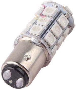Žárovka LED BaY15D 12V/5W, červená, brzdová/obrysová, 27xSMD5050