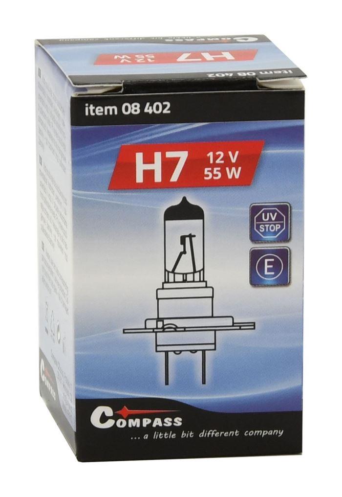 Žárovka halogen H7 12V/55W, Compass Premium, patice PX26T