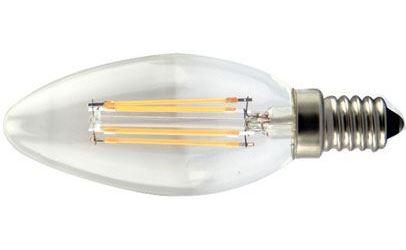 Žárovka LED E14 svíčková, 4x Filament 230V/4W, bílá