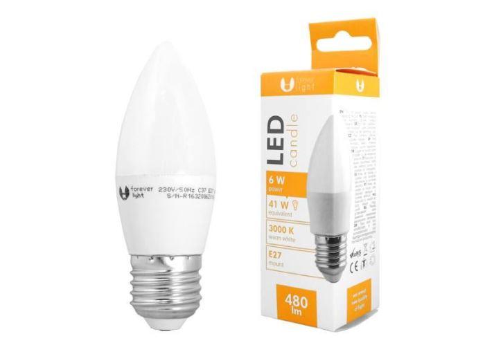 Žárovka LED A60 E27 svíčková  230V/6W, bílá teplá