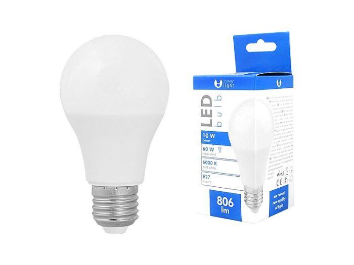 Žárovka LED A60 E27 hrušková 230V/10W, bílá