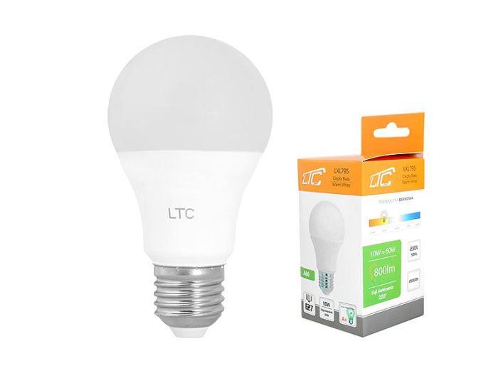 Žárovka LED A60 E27 hrušková 230V/10W, teplá bílá, LTC