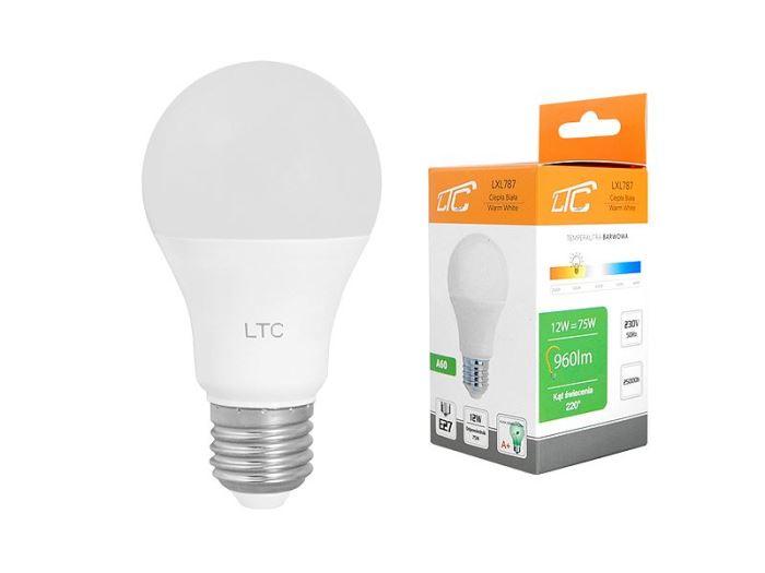 Žárovka LED A60 E27 hrušková 230V/12W, teplá bílá, LTC