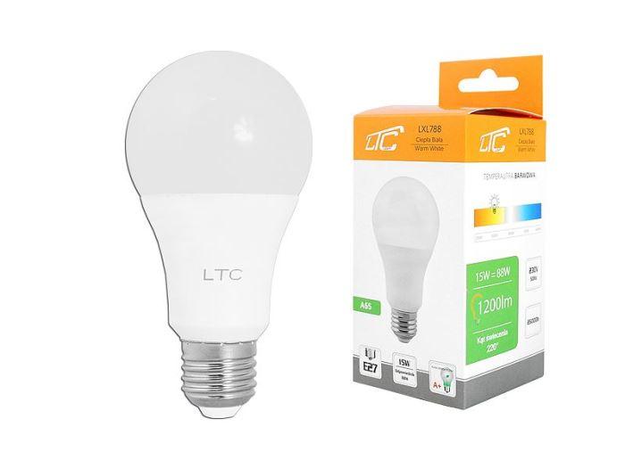 Žárovka LED A60 E27 hrušková 230V/15W, teplá bílá, LTC