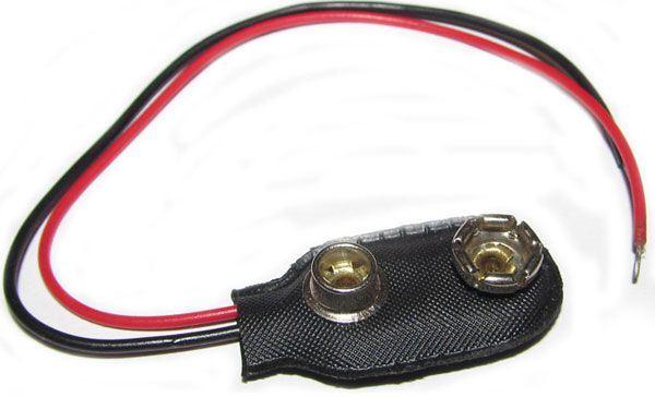 Kontakty na 9V baterii - klips,  I typ, vývody 12cm