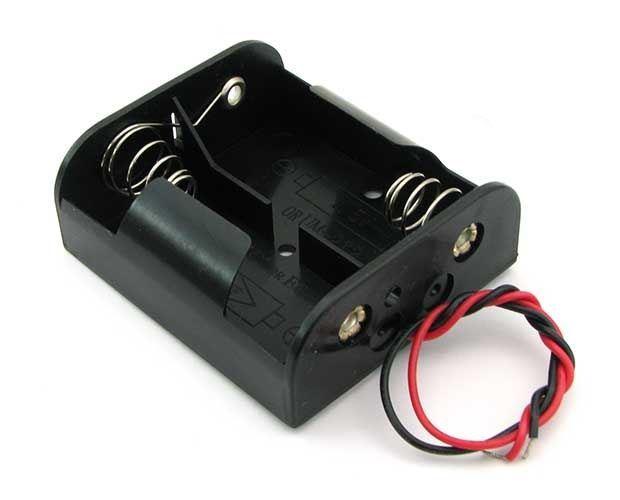 Držák baterie 2xC (R14) BH221A, drátové vývody