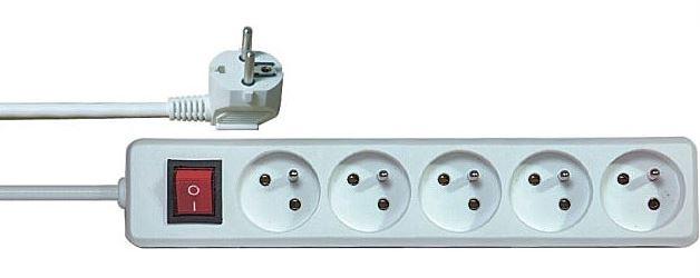 Prodlužovací přívod 3m-5x10A+vypínač,