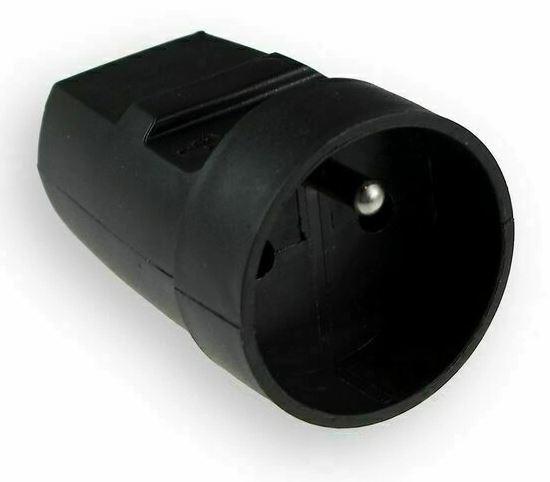 Spojovací zásuvka 230V kabelová, černá