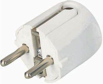 Vidlice 230V/10A bílá, boční vývod