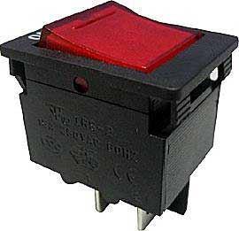 Vypínač kolébkový OFF-ON 2pól.250V s jističem 10A