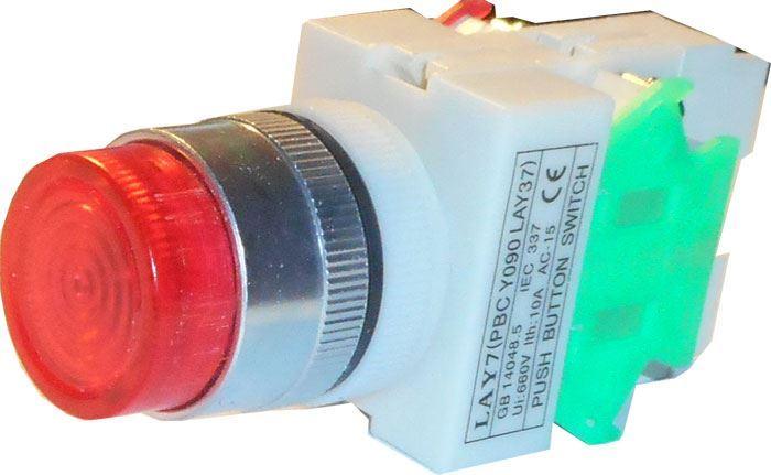 Tlačítko LAY7 OFF-(ON)/ON-(OFF) 1.pól. 250V/6A červené prosvětlené