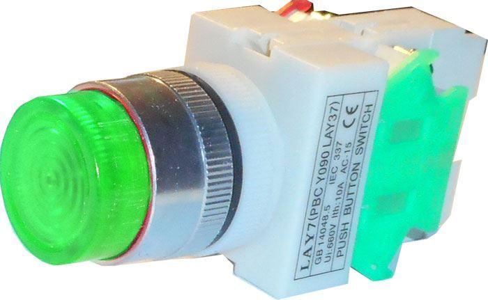 Tlačítko LAY7 OFF-(ON)/ON-(OFF) 1.pól. 250V/6A zelené prosvětlené