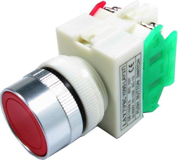 Tlačítko LAY7 OFF-(ON)/ON-(OFF) 1.pólové 250V/6A červené