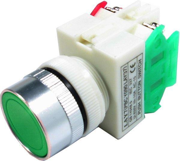 Tlačítko LAY7 OFF-(ON)/ON-(OFF) 1.pólové 250V/6A zelené