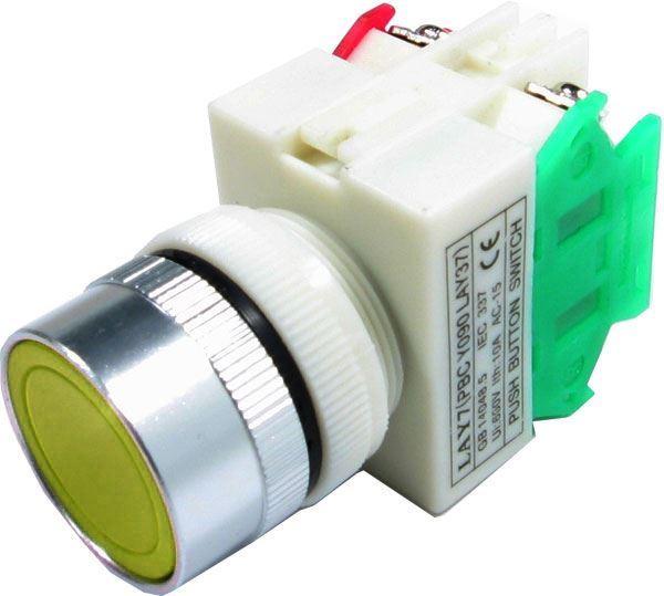 Tlačítko LAY7 OFF-(ON)/ON-(OFF) 1.pólové, 250V/6A žluté