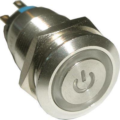 Vypínač stiskací OFF-ON LAS1-19F 250V/5A, modré prosvětlení 12V