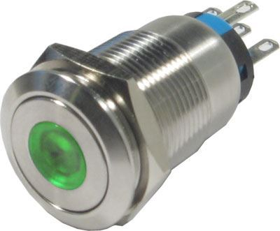 Tlačítko OFF-(ON) LAS1-19F 250V/5A, zelené prosvětlení 12V
