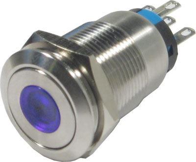 Tlačítko OFF-(ON) LAS1-19F 250V/5A, modré prosvětlení 12V