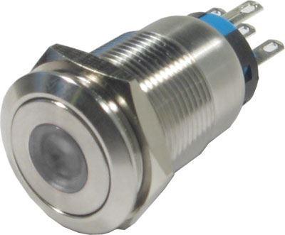 Tlačítko OFF-(ON) LAS1-19F 250V/5A, bílé prosvětlení 12V