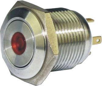 Tlačítko OFF-(ON) GQ16F-10DM 250V/3A, červené prosvětlení 12V