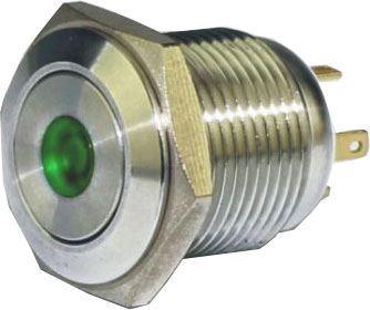 Tlačítko OFF-(ON) GQ16F-10DM 250V/3A, zelené prosvětlení 12V