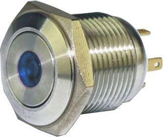 Tlačítko OFF-(ON) GQ16F-10DM 250V/3A, modré prosvětlení 12V