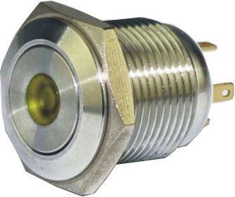 Tlačítko OFF-(ON) GQ16F-10DM 250V/3A, žluté prosvětlení 12V