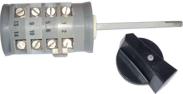 Vačkový spínač VS16 6007 A1, 16A/380V~, 7 poloh 30° s knoflíkem