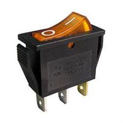 Vypínač kolébkový OFF-ON 1pol.250V/15A žlutý s doutnavkou