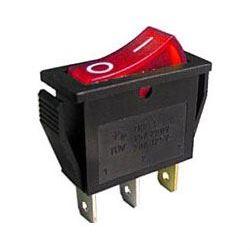 Vypínač kolébkový OFF-ON 1pol.250V/15A, červený s doutnavkou