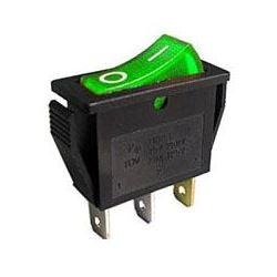 Vypínač kolébkový OFF-ON 1pol.250V/15A, zelený s doutnavkou