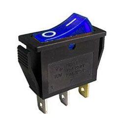 Vypínač kolébkový OFF-ON 1pol.250V/15A modrý s doutnavkou
