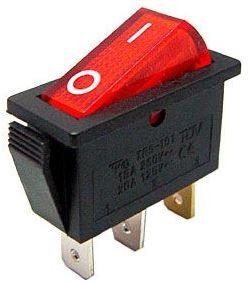 Vypínač kolébkový OFF-ON 1pol.250V/15A červený s doutnavkou