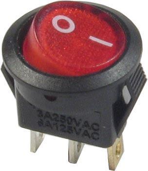 Vypínač kolébkový OFF-ON 1pol.250V/3A červený s doutnavkou