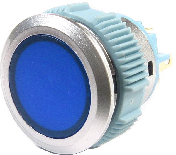 Vypínač stiskací L22F-11NL, ON-ON 1pól. 250V/3A, modrý prosvětlený