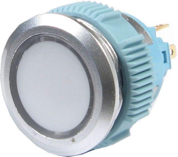 Vypínač stiskací L22F-11NL, ON-ON 1pól. 250V/3A, bílý prosvětlený