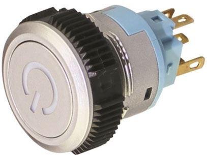 Vypínač stiskací L22F-11PL-SS, ON-ON 1pól. 250V/3A, modré prosvětlení