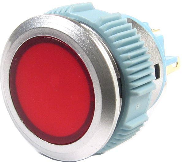 Tlačítko L22F-11NM, ON-(ON) 1pól. 250V/3A, červené prosvětlené